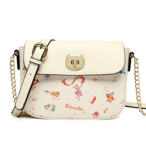 Chic Flap Cross Body Cartoon Print Bag