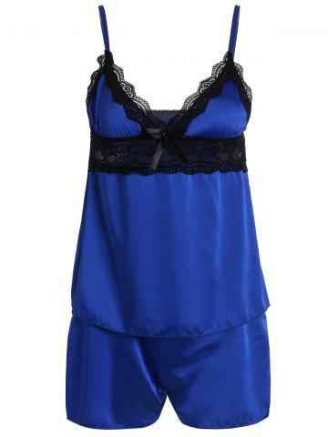 Fashion Lace Panel Cami Summer Pajamas Set ROYAL XL