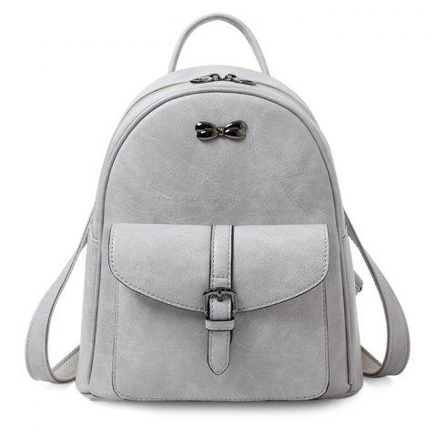 Fashion Bowknot Detail Faux Leather Backpack