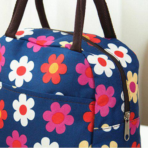 Best Nylon Floral Printed Lunch Bag - CERULEAN  Mobile