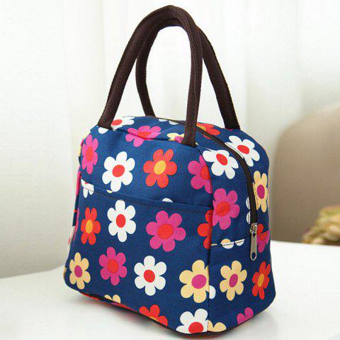 Unique Nylon Floral Printed Lunch Bag - CERULEAN  Mobile