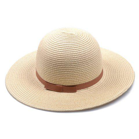 Shops Bow Band Cloche Sun Straw Hat LIGHT KHAKI