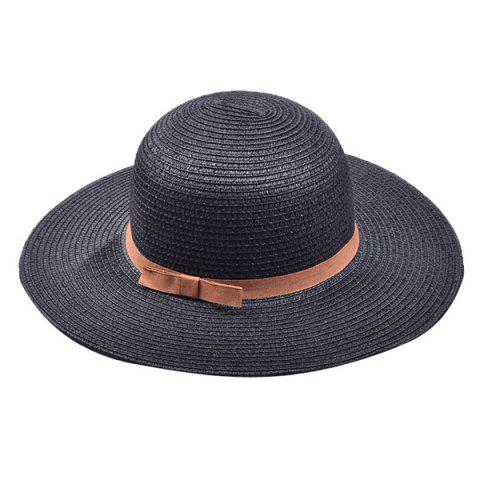 Sale Bow Band Cloche Sun Straw Hat BLACK