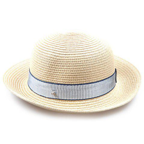 Striped Band Embellished Flanging Bowler Straw Hat - OFF WHITE
