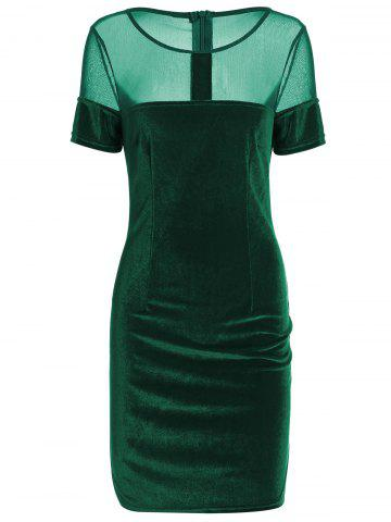 Hot Velvet Fitted Mini Bandage Dress GREEN XL