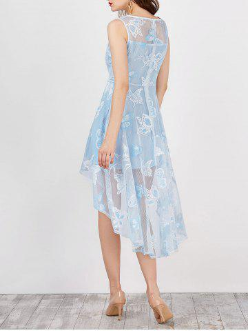 High Low Flowy Wedding Party Lace Dress - Light Blue - S