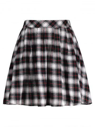 Fancy Plaid A Line Mini Skirt BLACK S