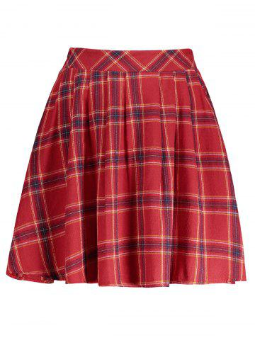 Hot Plaid A Line Mini Skirt RED S