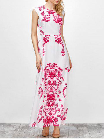 Hot Cap Sleeve Long Printed Maxi Cocktail Party Dress WHITE XL