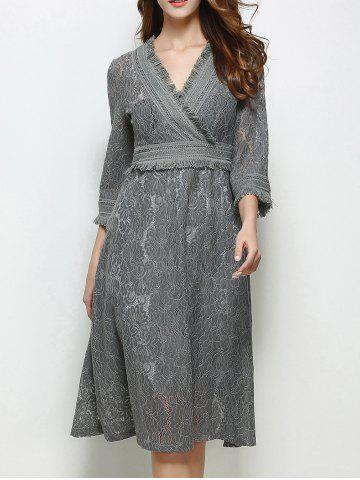 Trendy Lace Surplice A Line Fringe Swing Modest Dress GRAY M