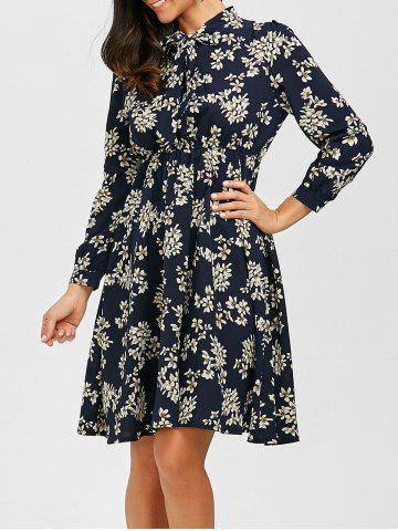 Outfit Bowknot Floral Print Chiffon Dress with Elastic Waist PURPLISH BLUE S