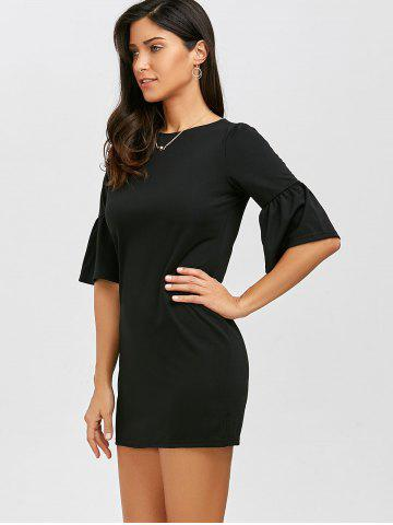 Shop Flare Sleeve Bodycon Mini Dress - S BLACK Mobile