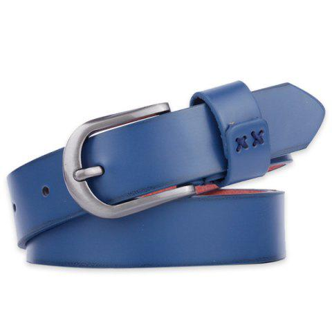 Discount Plain Wide Belt with Pin Buckle - BLUE  Mobile