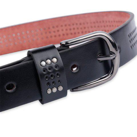 Shops Small Hole Studded Pin Buckle PU Belt - BLACK  Mobile