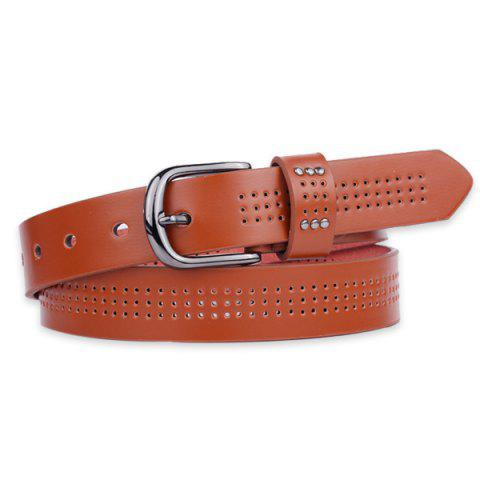 Shops Small Hole Studded Pin Buckle PU Belt - BROWN  Mobile