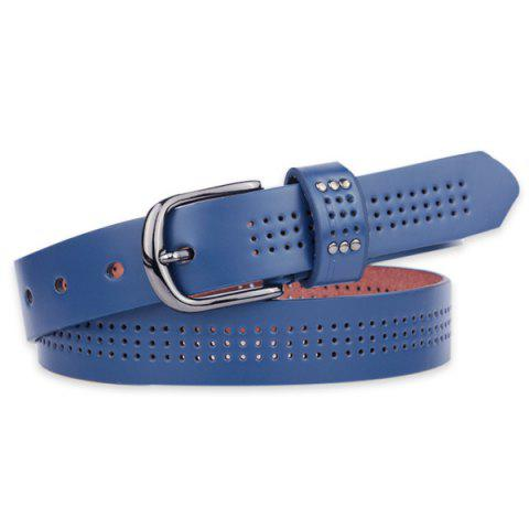 Online Small Hole Studded Pin Buckle PU Belt - BLUE  Mobile