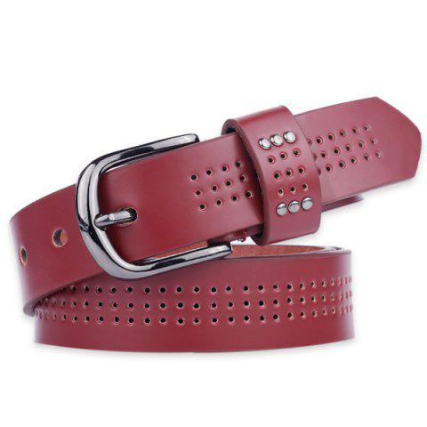Latest Small Hole Studded Pin Buckle PU Belt - WINE RED  Mobile