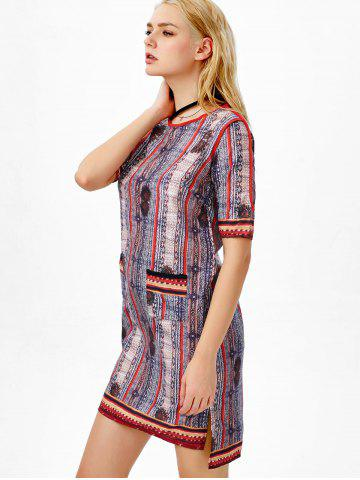 Fashion High Low Slit Printed Dress with Pocket - 2XL COLORMIX Mobile