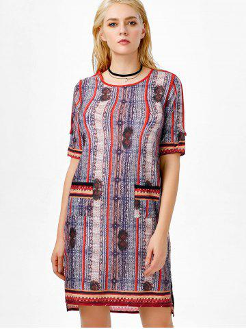 Sale High Low Slit Printed Dress with Pocket - 2XL COLORMIX Mobile