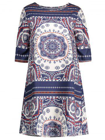 Discount Short  A Line Printed Dress African Print Dresses - XL COLORMIX Mobile