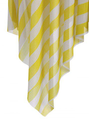 Sale Plus Size Stripe One Piece Skirted Swimsuit - 2XL YELLOW Mobile