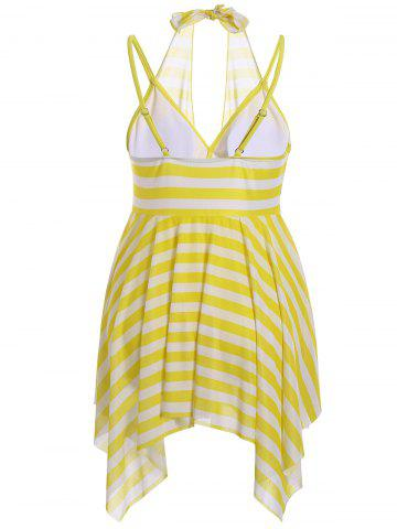Fancy Plus Size Stripe One Piece Skirted Swimsuit - 2XL YELLOW Mobile