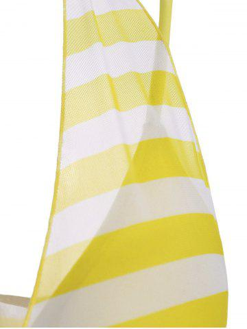 Store Plus Size Stripe One Piece Skirted Swimsuit - 2XL YELLOW Mobile