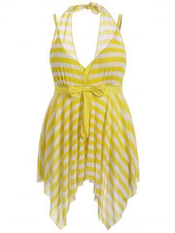 Affordable Plus Size Stripe One Piece Skirted Swimsuit - 2XL YELLOW Mobile