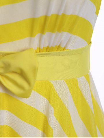Shops Plus Size Stripe One Piece Skirted Swimsuit - 2XL YELLOW Mobile