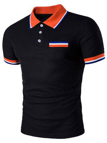 Online Fake Pocket Striped Polo T-Shirt