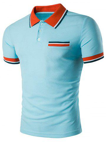 Sale Fake Pocket Striped Polo T-Shirt