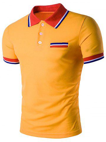 Discount Fake Pocket Striped Polo T-Shirt