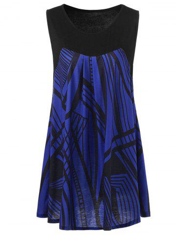 Cheap Plus Size Graphic Extra Long Tank Top - 2XL BLACK AND BLUE Mobile