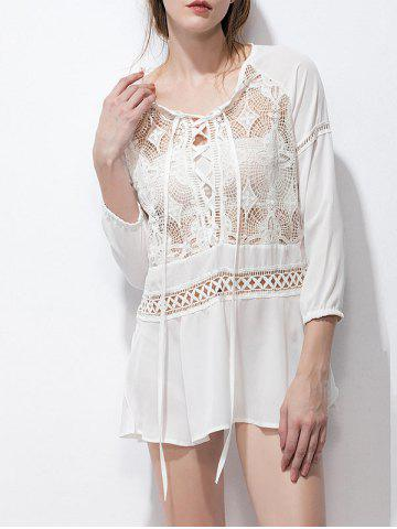 Sheer Tunic Chiffon Lace Up Blouse