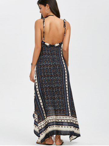 Discount Boho Maxi Halter Low Back Asymmetric Summer Dress - L BLUE Mobile
