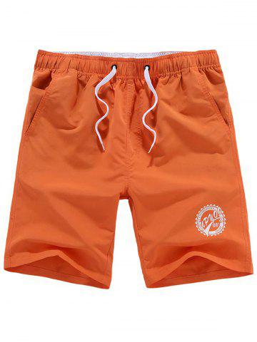 Drawstring Graphic Beach Shorts - ORANGE 2XL