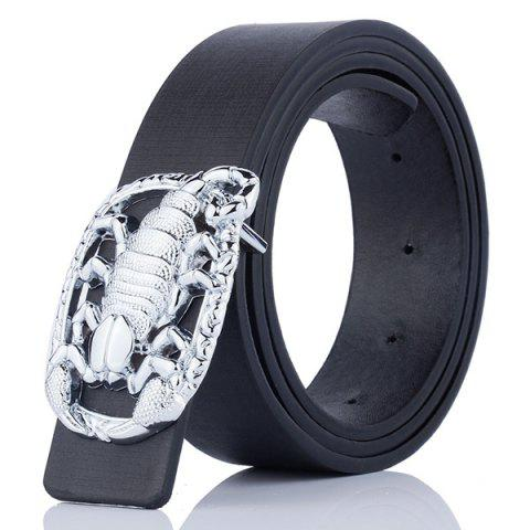 Affordable Wide Belt with Scorpion Shape Covered Buckle - BLACK  Mobile
