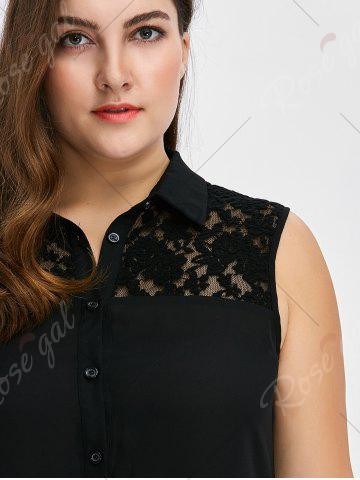 Outfits Plus Size Lace Insert High Low Top - 5XL BLACK Mobile