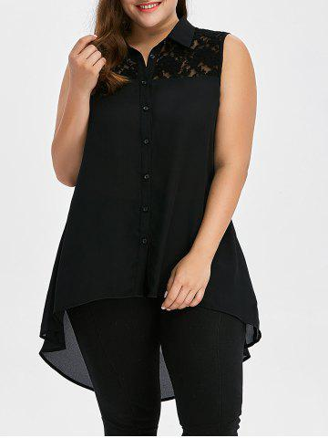 Latest Plus Size Lace Insert High Low Top - 2XL BLACK Mobile
