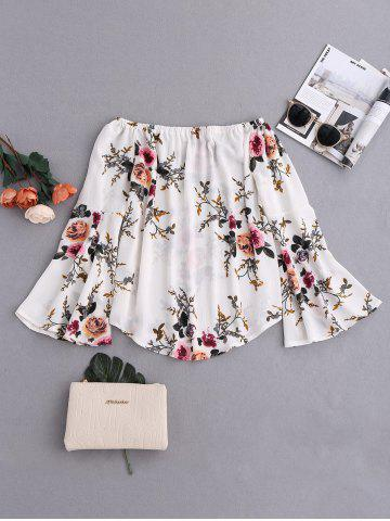Sale Flare Sleeve Floral Off Shoulder Blouse