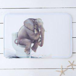 Elephant Toilet Print Water Absorbing Bathroom Rug