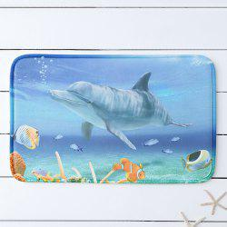 Sea Dolphin Print Water Absorbing Bathroom Floor Carpet