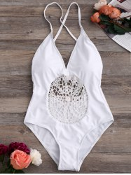 Crochet Insert Backless One Piece Swimsuit
