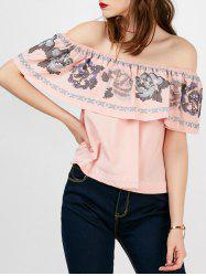 Off The Shoulder Ruffle Embroidered Blouse
