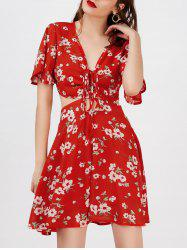 Plunge Floral Backless Short Sleeve Summer Dress - Rouge