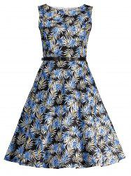 Printed Belted High Waist Flare Dress