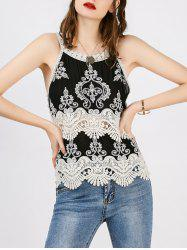 Lace Panel Crop Tank Top