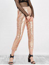 Sequined High Rise Cropped Pants