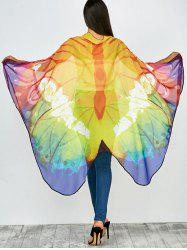 Color Mix Light Butterfly Wing Print Chiffon Pashmina Scarf Cape with Straps