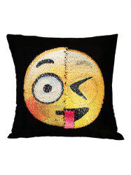 Happy Emoji Reverisble Sequin Decorative Pillow Case